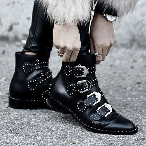 Women Plus Size PU Boots Pointed Toe Low Heel Shoes With Buckle