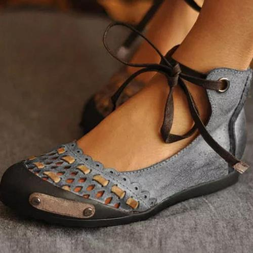 Summer Round Toe Hollow Lace-Up Ankle Women Sandals