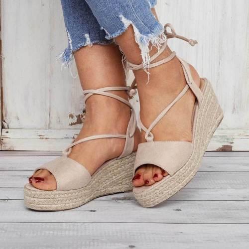 Summer Lace-Up Espadrilles Wedge Sandals