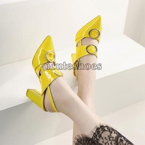 High Heel Pointed Sandals Shoes Metal Decoration Chunky Block Heels