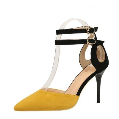 Color Block Stiletto Heel Suede Sandals