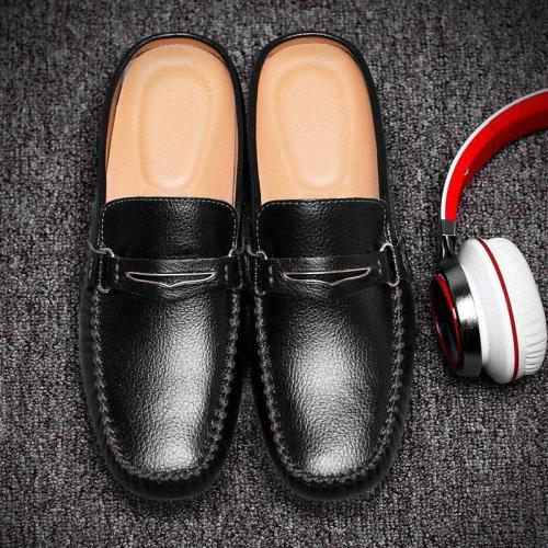 Men British Style Color Blocking Flat Slip On Casual Backless Loafers