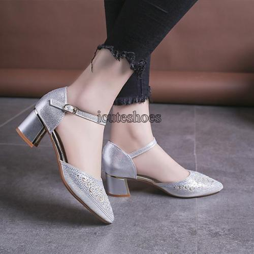 Summer New Women's Shoes Small Round Head Chunky Heel Buckle Women's Heel Single Shoes