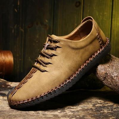 Men British Style Retro Stiching Soft Sole Lace Up Flat Cap-toe Shoes