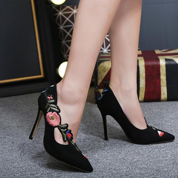 Pointed Toe Embroidery Elegant High Heels Shoes
