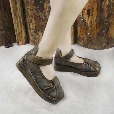 Leather Vintage Platform Flats