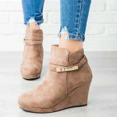 Metal Strap Buckle Wedge Heel Ankle Boots
