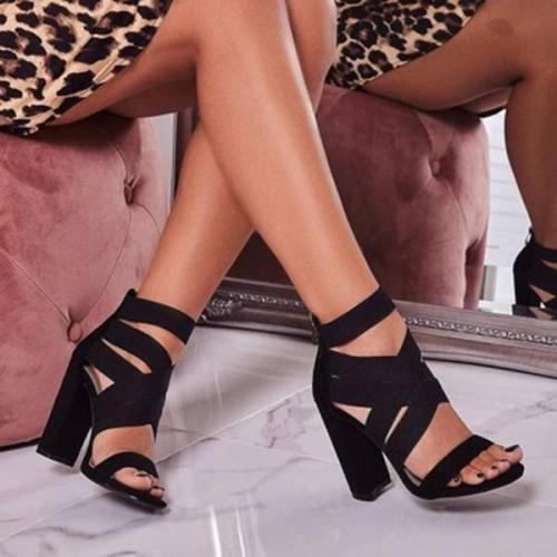 Women Middle Heel Peep Toe Elegant Sandals