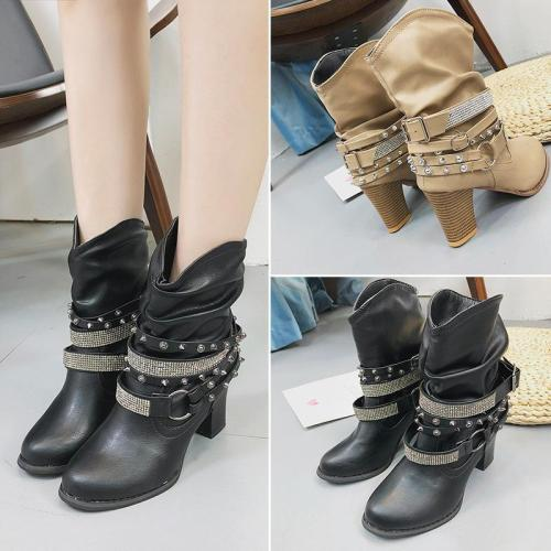Coffee PU Rivet Daily Women High-heeled Boot Casual Boots