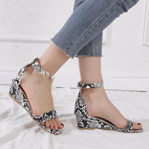 Women PU Adjustable Buckle Wedge Sandals