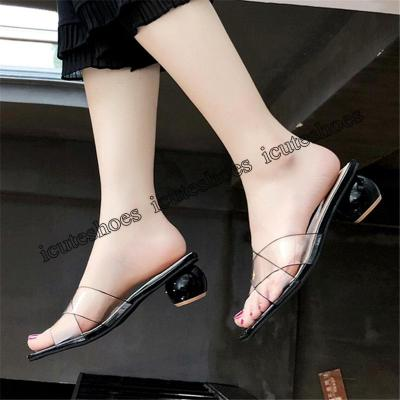 Slippers Women's Summer New Fashion Transparent Thick Heel Dew Toe Sandals