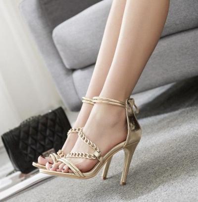 Summer Female Sandals Cross Belt Gold Chain Sexy Stilettos Heel Shoes