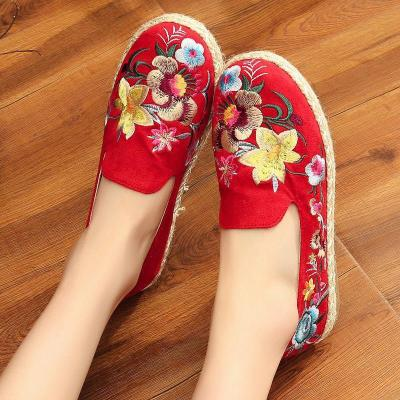 Women Flat Floral Embroidered Old Peking Loafers Casual Comfort Slip On Shoes
