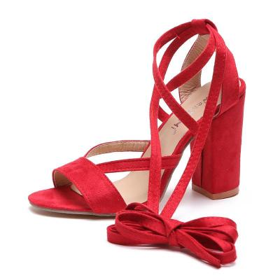 Round Toe Strap Large High Heels Women's Shoes Chunky Heel Suede Women's Sandals Popular