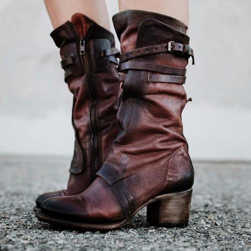 Women Vintage Low Heel Zipper Faux Leather Boots