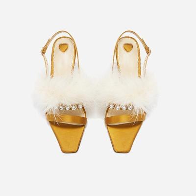 Yellow Summer Spool Heel Fur Date Shoes