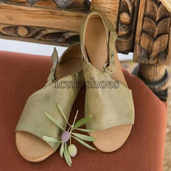 Summer Fashion Wedges Shoes Woman Slides Buckle Lady Casual