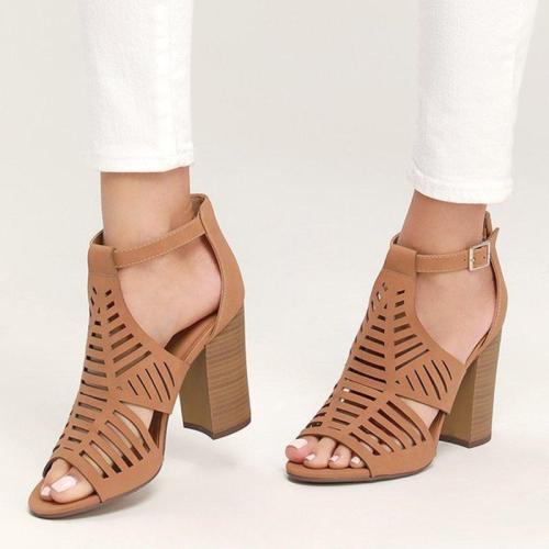 Women Hollow-Out Summer Booties Peep Toe Chunky Heels Sandals