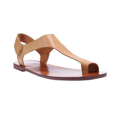 Women Plus Size Sandals Women Magic Tape Flat Heel Sandals