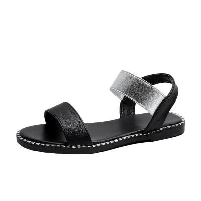 2020 Summer New Sandals Female Flat Bottom Fish Mouth Sandals Solid Color Large Size