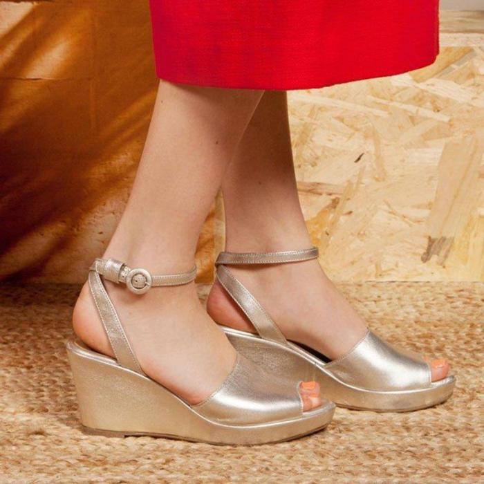 Plus Size Leather Peep Toe Wedge Buckle Sandals