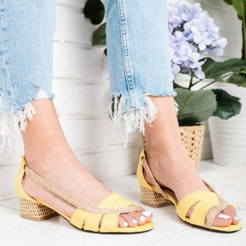 Chunky Heel Sandals Slip On Heels Open Toe Shoes