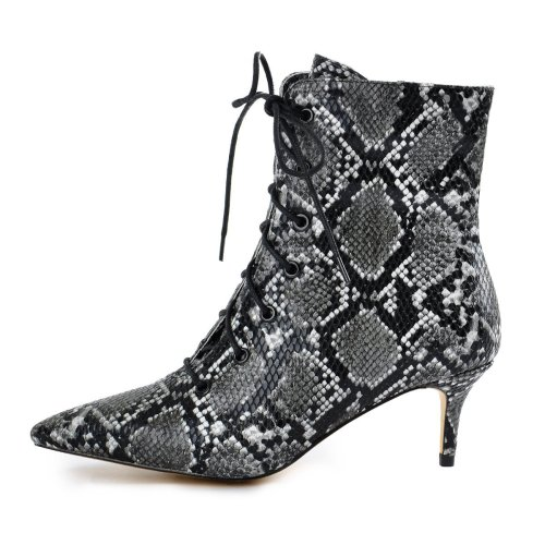Kitten Low Heel Pointed Toe Lace Up Snake Ankle Boots