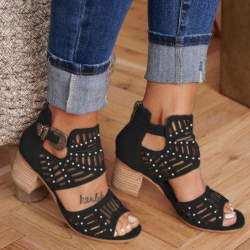 Women Cut-out Slip-on Stylish Mid Heel Shoes