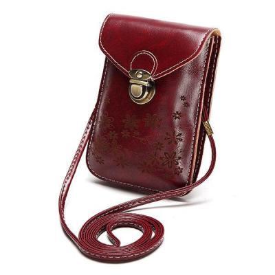 Vintage Faux Leather Flower Crossbody Bag Phone Bag