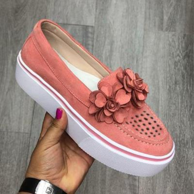 Women Round Toe Casual Flats Flowers Sneakers