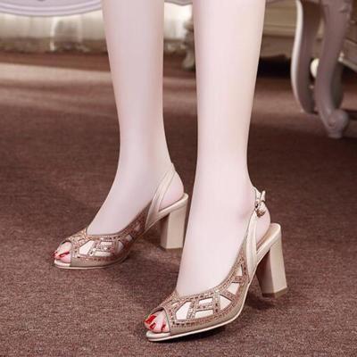 Elegant Peep Toe Rhinestone Summer Sandals