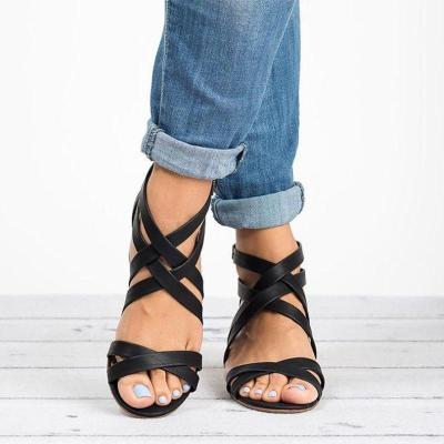 Women's Microfiber Peep Toe Adjustable Buckle Middle Chunky Heel Sandals
