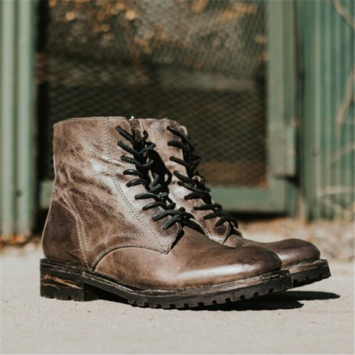 Men's Fashion Retro Square With Lace-Up Men Boots