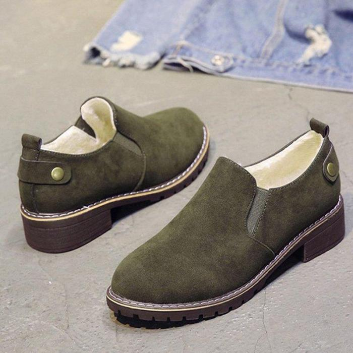 Women Fur Lined Suede Casual Slip On Boots