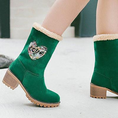 Womens Chunky Heel Round Toe Casual Winter Snow Boots
