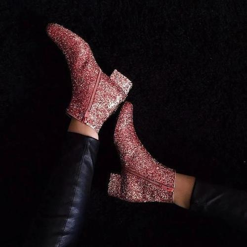 Women's Fashion Casual Sequins Solid Color Boots