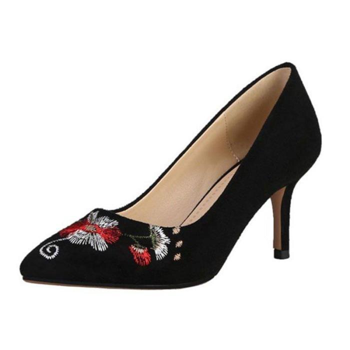 Stiletto Heel Floral Embroidered Elegant Shoes