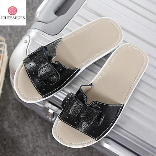 Leather Women Flats Shoes Platform Wedges Female Slides Beach Flip Flops