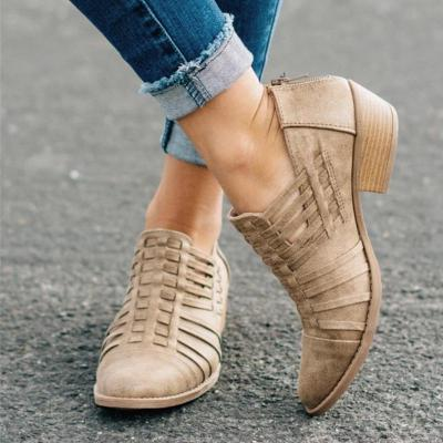 BREATHABLE POINTED TOE HOLLOW SPLIT JOINT BOOTIES