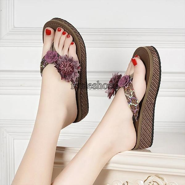 New Style Slope Heel Sandals for Women Summer Bohemia for Holiday Wear Thick Bottom Beach Shoes for Women