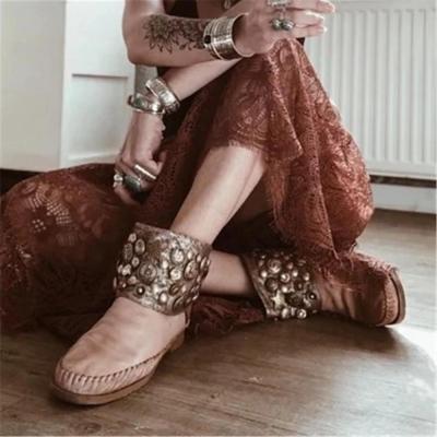 Women's Retro Studded Flat Boots