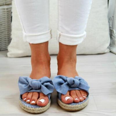 Summer Straw-Weave Platform Bowknot Women Slip-On Sandals