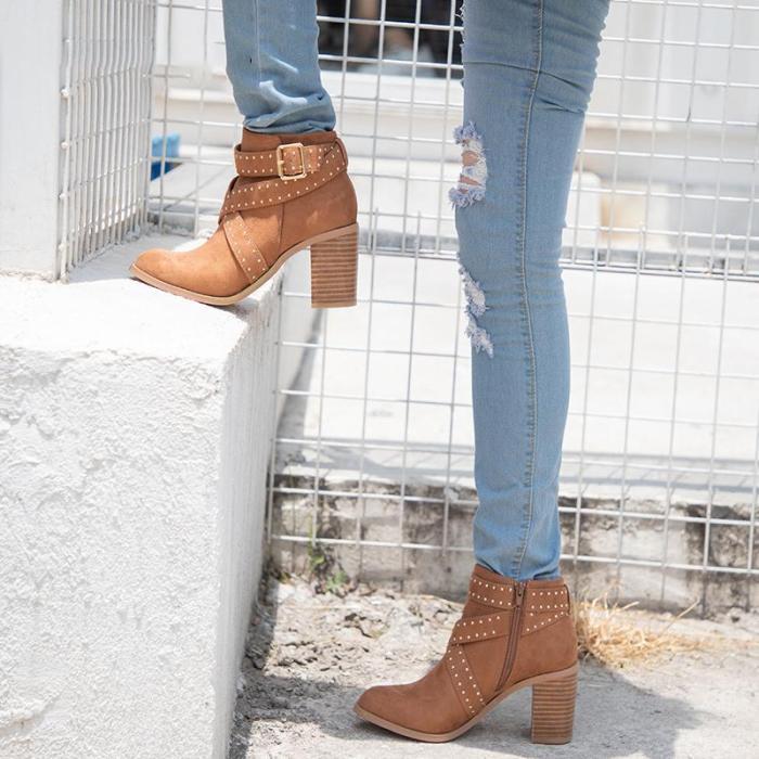 Women Flocking Booties Casual Comfort Chunky Heel Zipper Shoes
