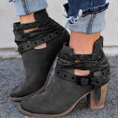 Women Flocking Booties Casual Adjustable Buckle Shoes