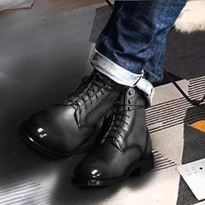 Men Genuine Leather Vintage Lace Up Martin Men Boots