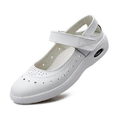 Women New Soft Genuine Leather Strap Hollow Loafers