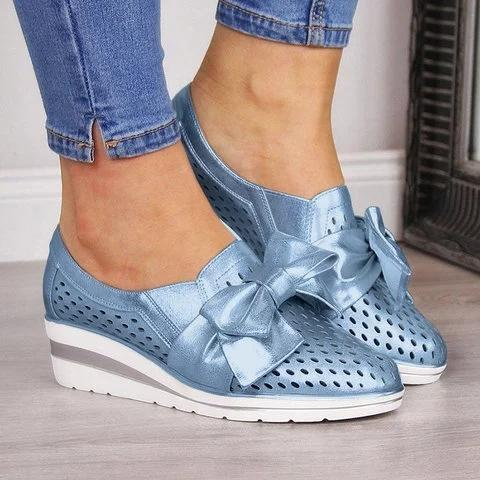 Hollow Bowknot Wedge Heels Slip-on Shoes