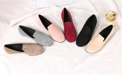 Slip on Comfortable Flat Loafers Simple Pure Color Artificial Suede Round Toe