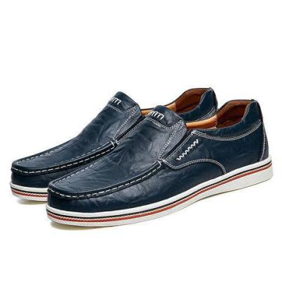 Men Large Size Cow Leather Wear-resistant Slip On Casual Shoes