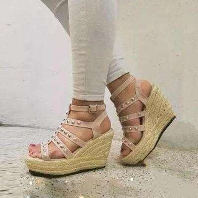 Women Casual Wedge Sandals Buckle Shoes